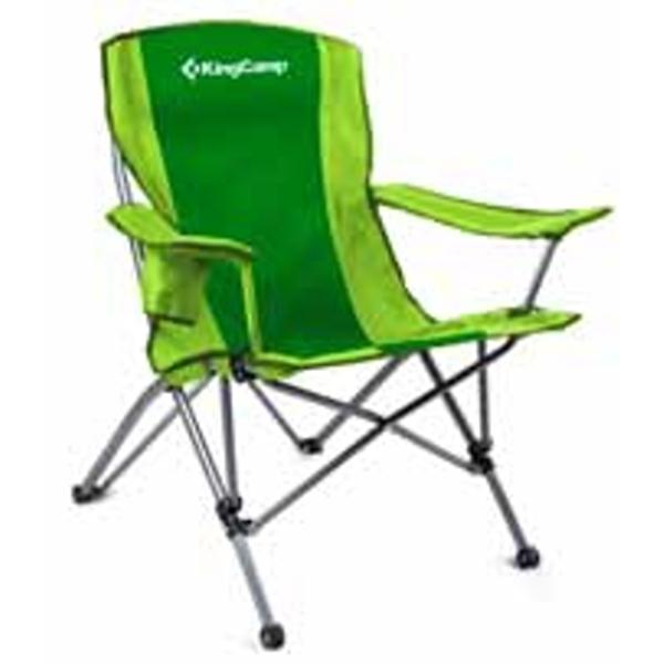 Camping skládací židle s opěrkami ocel - zelená
